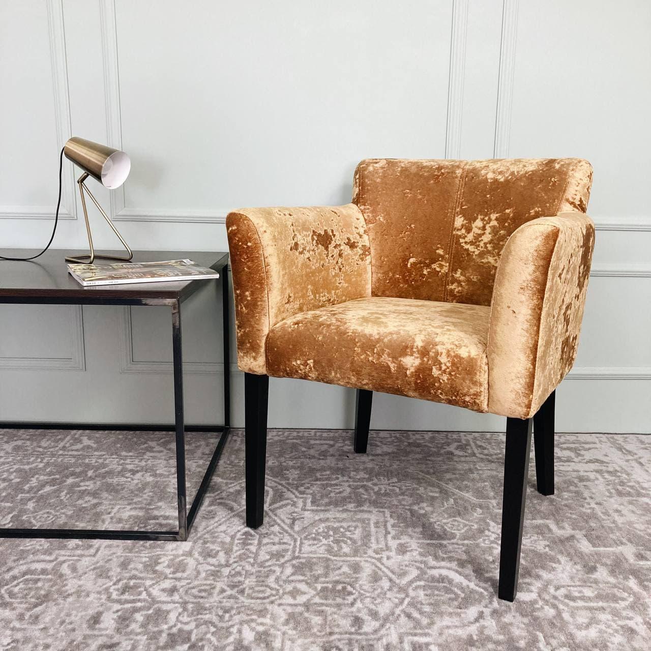 Кресло Камила, велюр Madeira golden, ножки чёрные