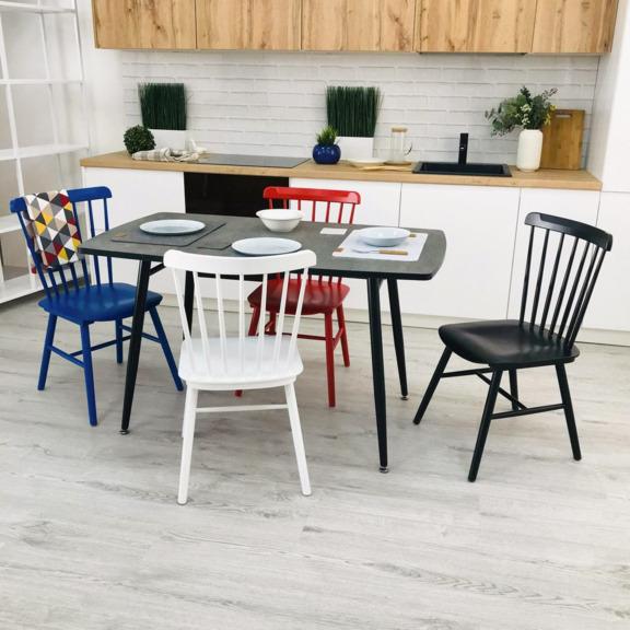 Стол раздвижной, чёрный и стулья Такер