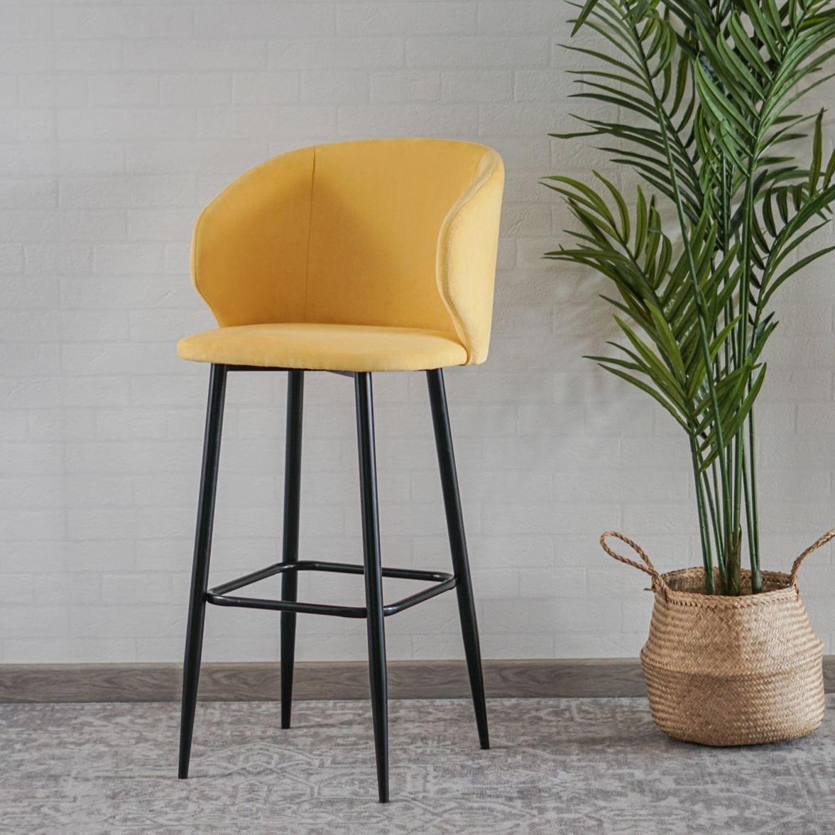 Барный стул Марк, велюр жёлтый, цвет ножек-чёрный