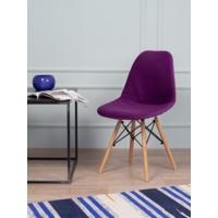Чехол Е02 на стул Eames, уплотненный, велюр фиолетовый