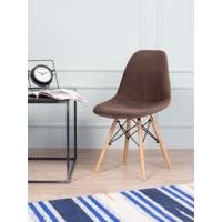 Чехол Е02 на стул Eames, уплотненный, велюр коричневый