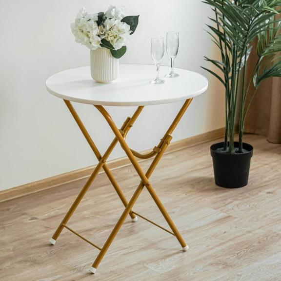 Стол Лидер 4, каркас золото, белая столешница