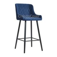 Барный стул Mint синий велюр, черная эмаль