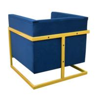 Кресло Куб, золото/ синий велюр