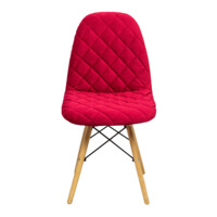 Стул Eames V, мягкий велюр, брусничный красный