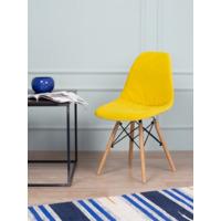 Чехол Е02 на стул Eames, уплотненный, велюр желтый