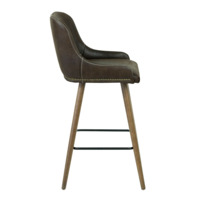 Полубарный стул Mint, коричневый, с белой строчкой