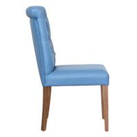 Стул Вилла, голубая экокожа, ножки орех