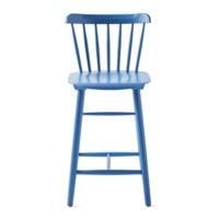 Стул Такер полубарный, синий деревянный