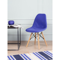 Чехол Е02 на стул Eames, уплотненный, велюр синий
